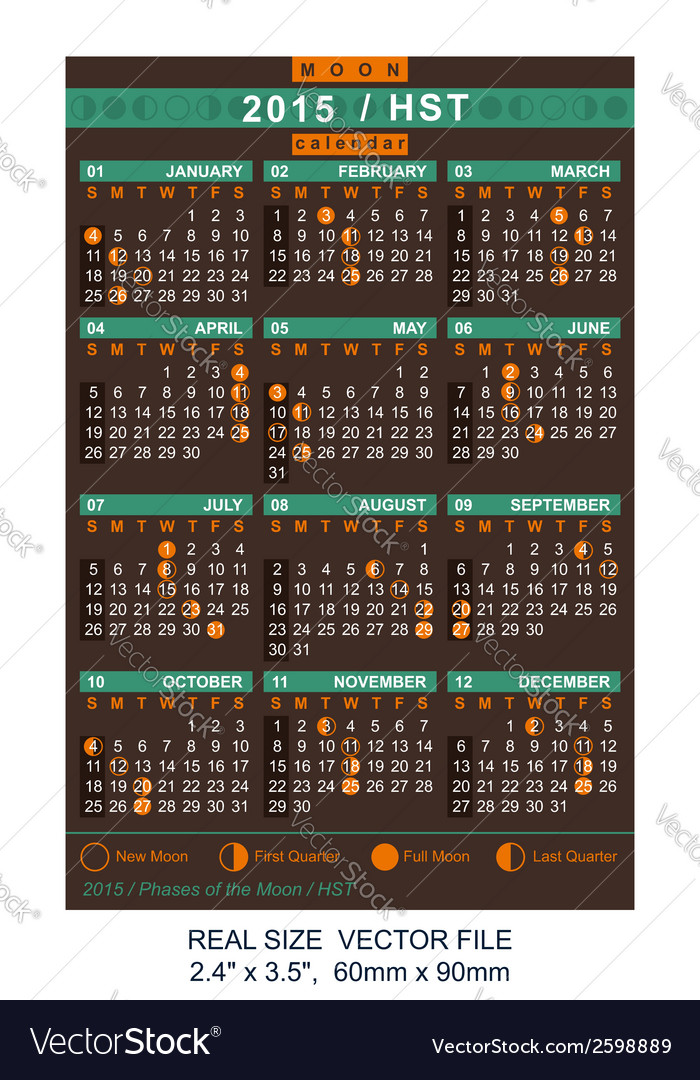 Calendar 2015 with phases of the moon hst vector | Price: 1 Credit (USD $1)