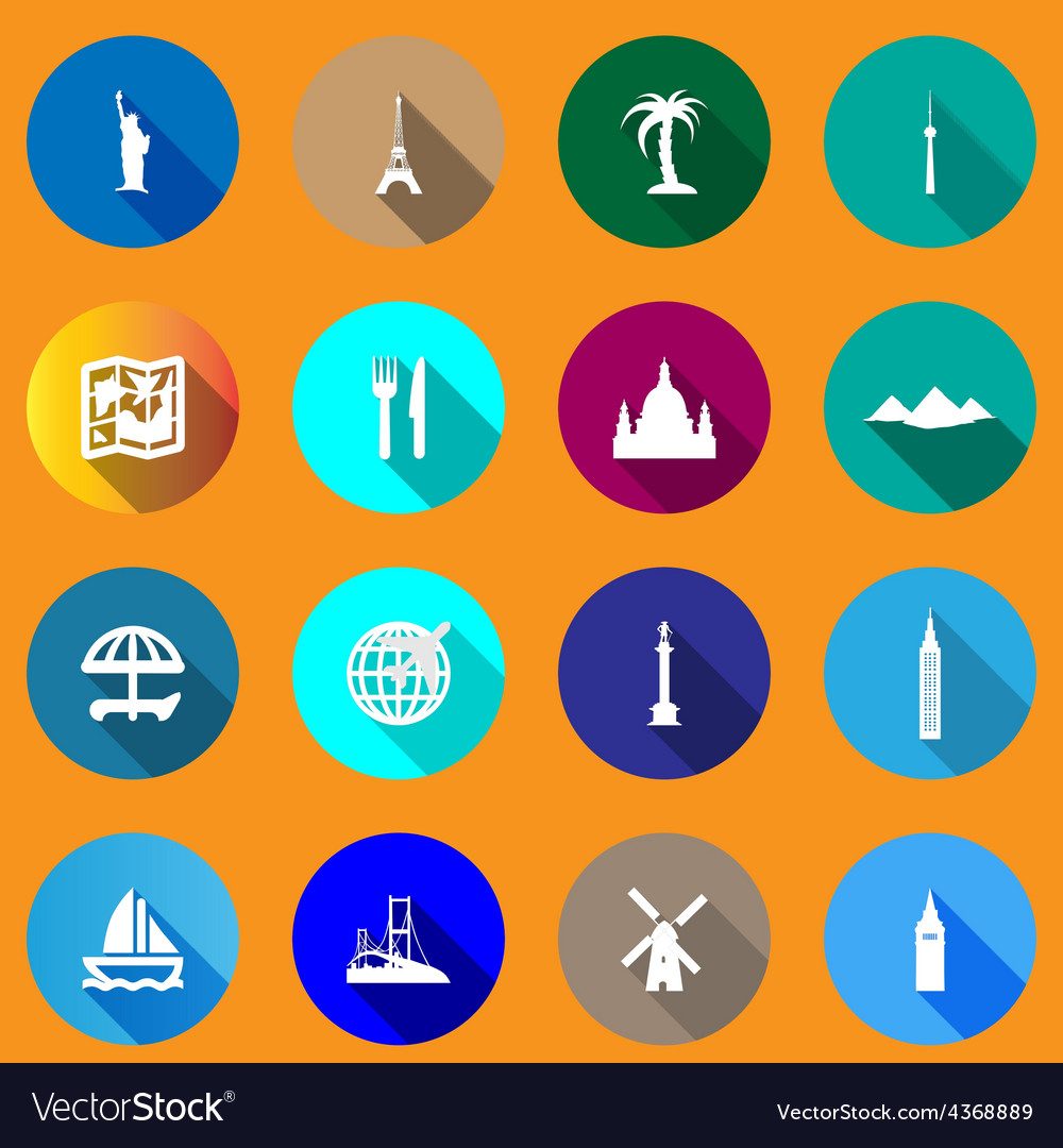 Flat icons for travel vector | Price: 1 Credit (USD $1)
