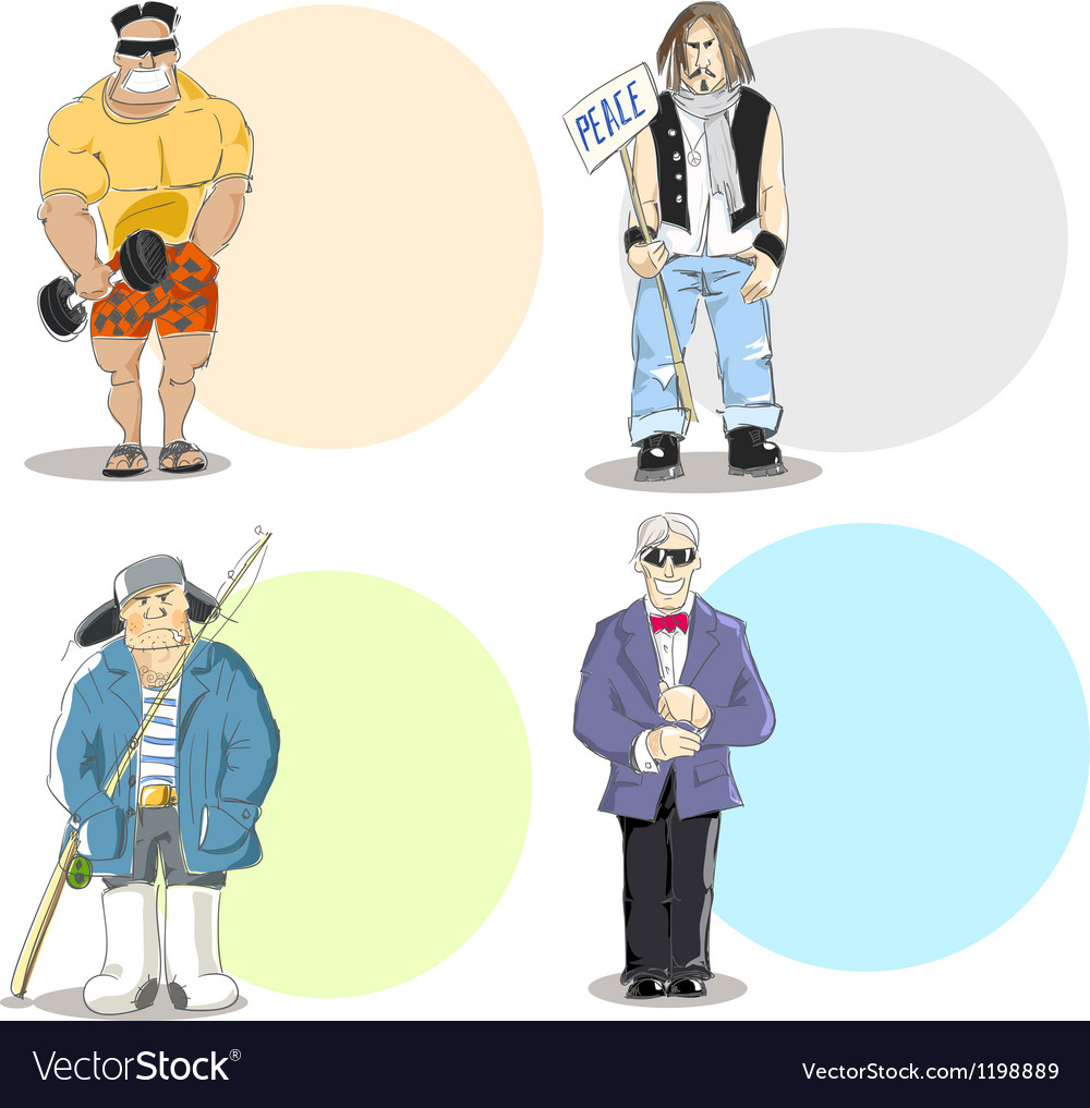 Four different men types vector | Price: 3 Credit (USD $3)