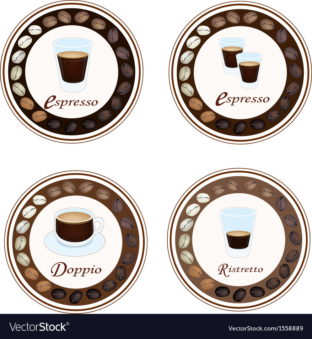 Four type of hot coffee in retro round label vector | Price: 1 Credit (USD $1)