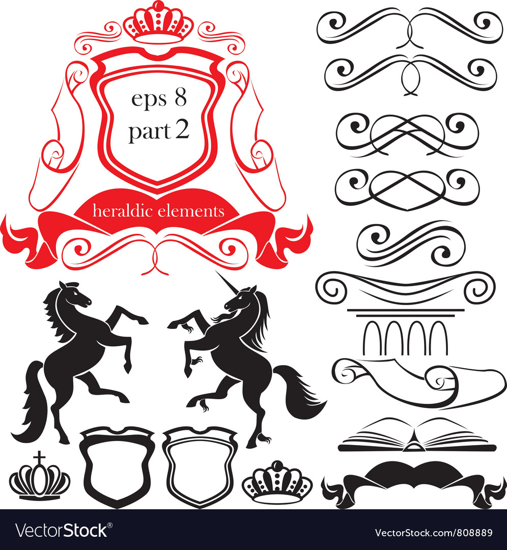 Heraldic silhouettes elements vector | Price: 1 Credit (USD $1)