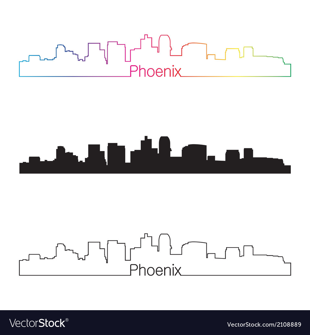 Phoenix skyline linear style with rainbow vector | Price: 1 Credit (USD $1)