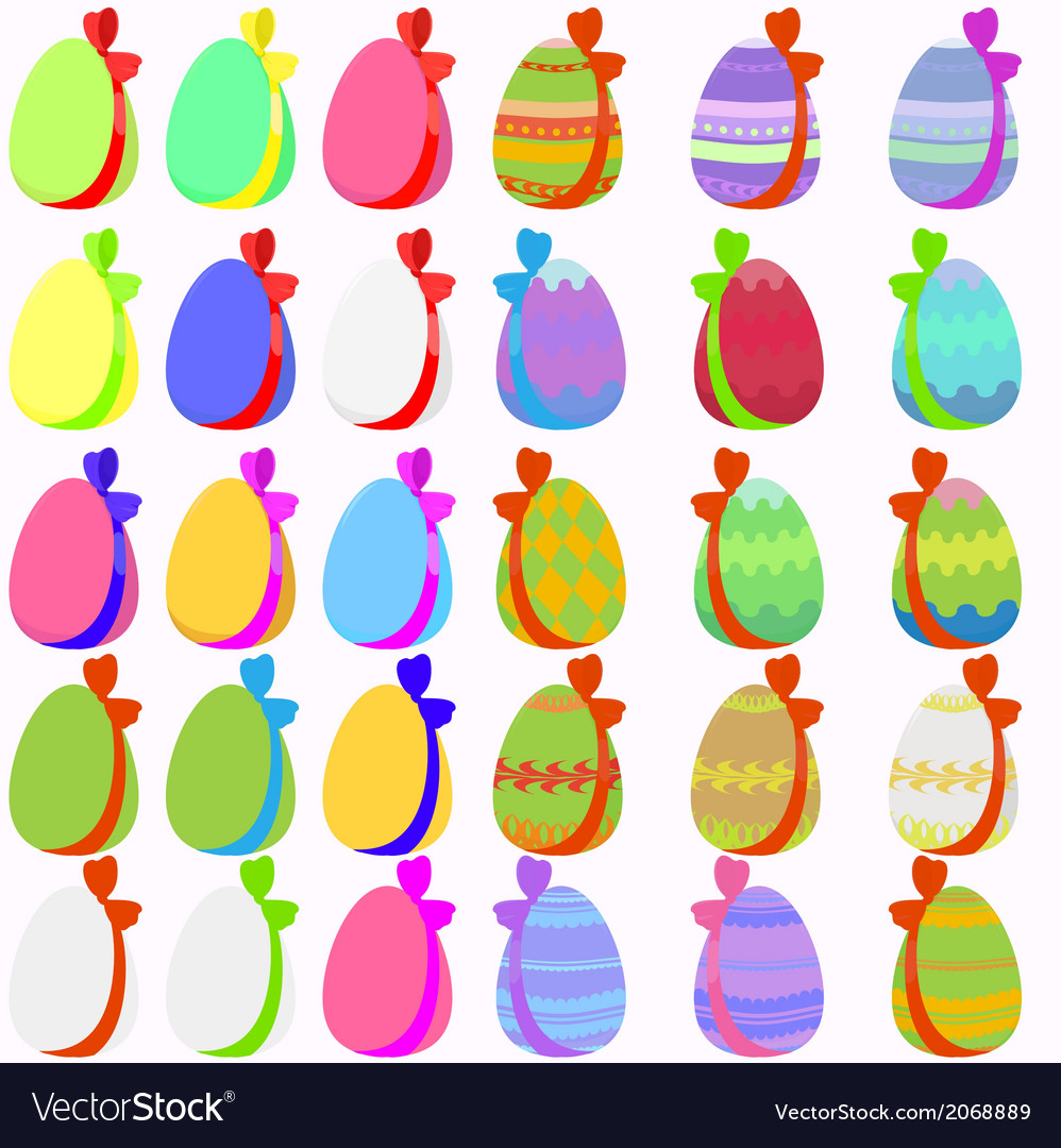 Set of 30 easter eggs with bow vector | Price: 1 Credit (USD $1)