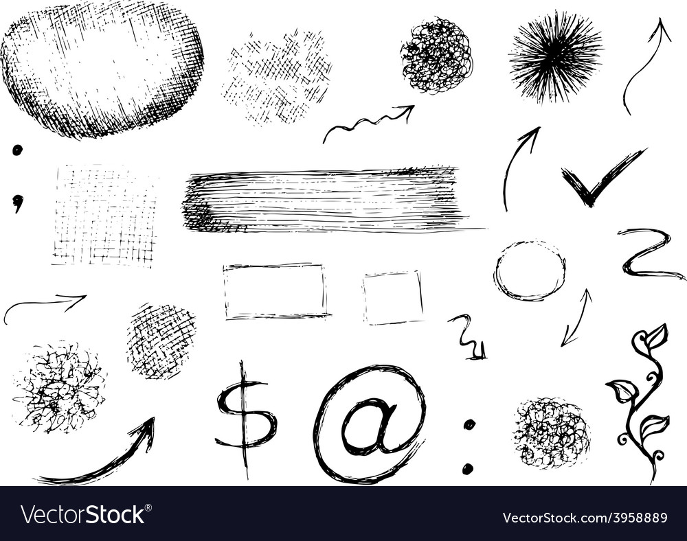 Set of hand drawn shapes signs and symbols vector | Price: 1 Credit (USD $1)