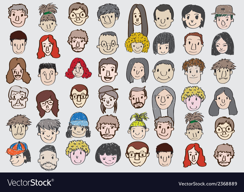 Set of various cartoon faces vector | Price: 1 Credit (USD $1)