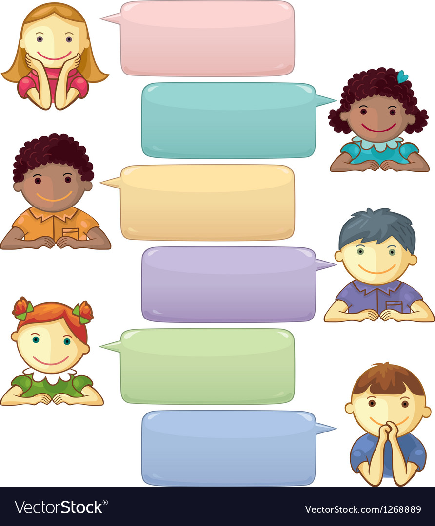 Template with speech bubbles and personages vector | Price: 1 Credit (USD $1)