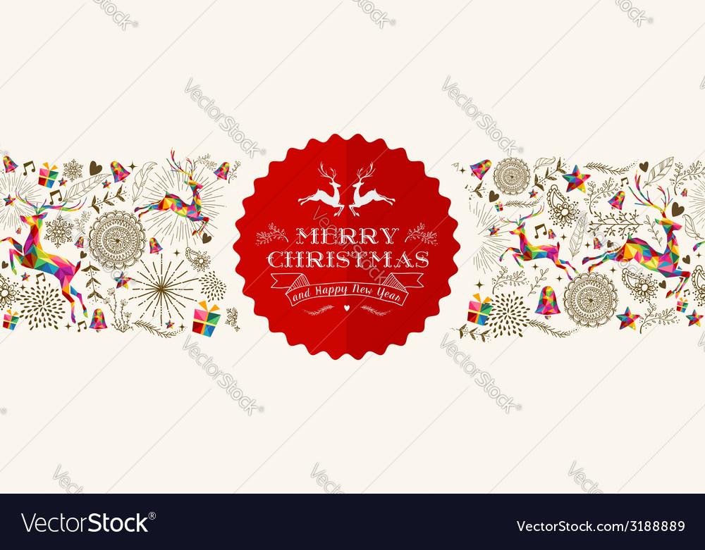Vintage christmas reindeer greeting card vector | Price: 1 Credit (USD $1)