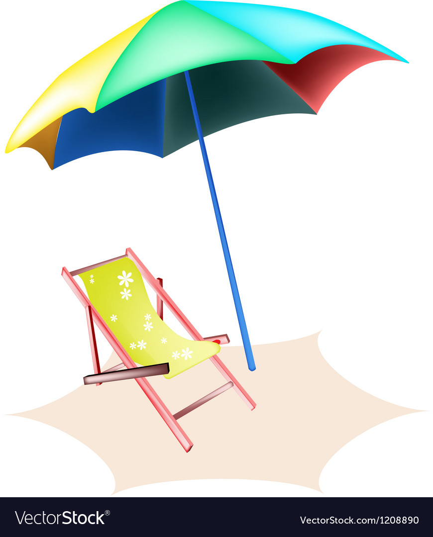 Beach chair and colorful umbrella vector | Price: 1 Credit (USD $1)
