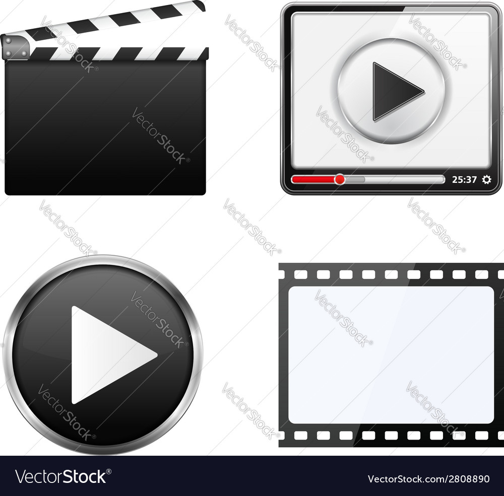 Clapper board video player play button and film vector | Price: 1 Credit (USD $1)