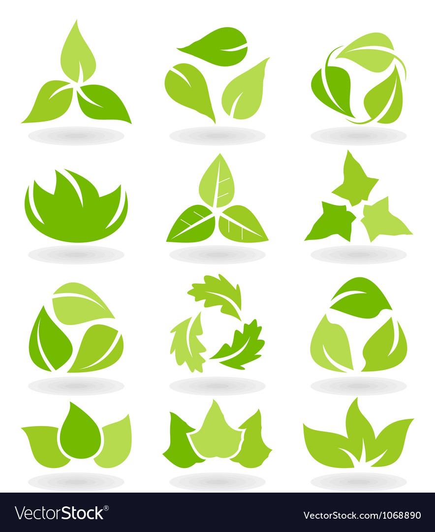 Eco leaf icons vector | Price: 1 Credit (USD $1)