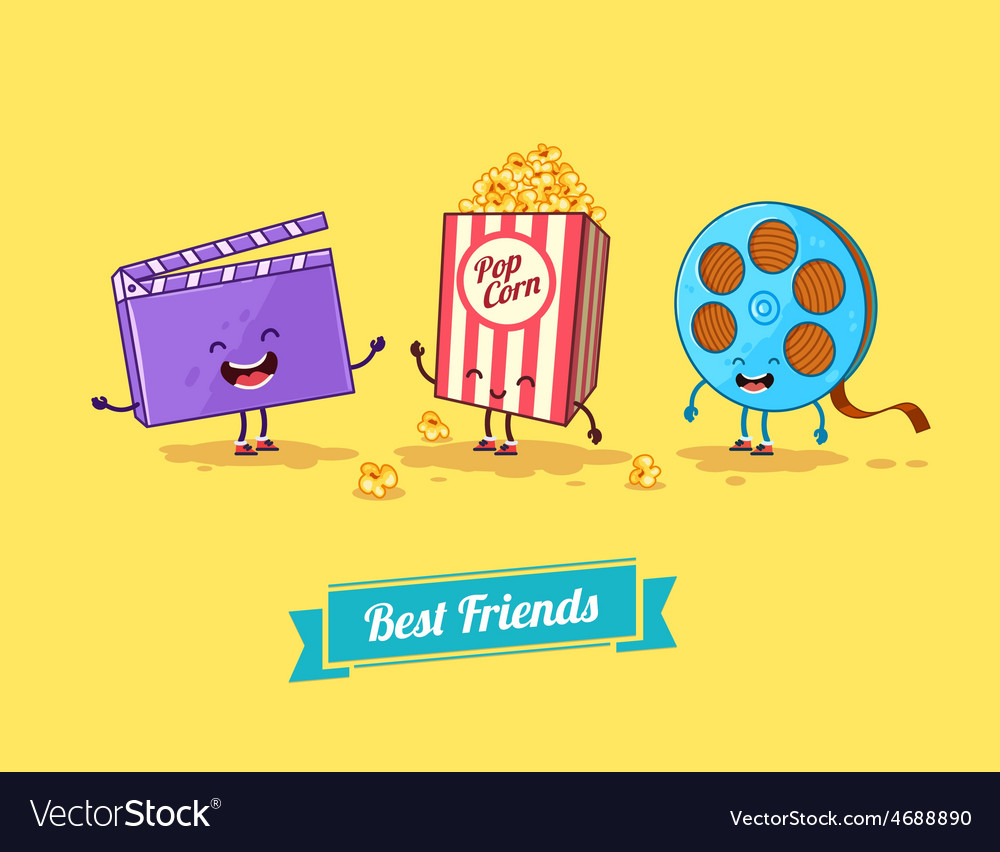 Funny cartoon funny popcorn clapboard and vector | Price: 1 Credit (USD $1)