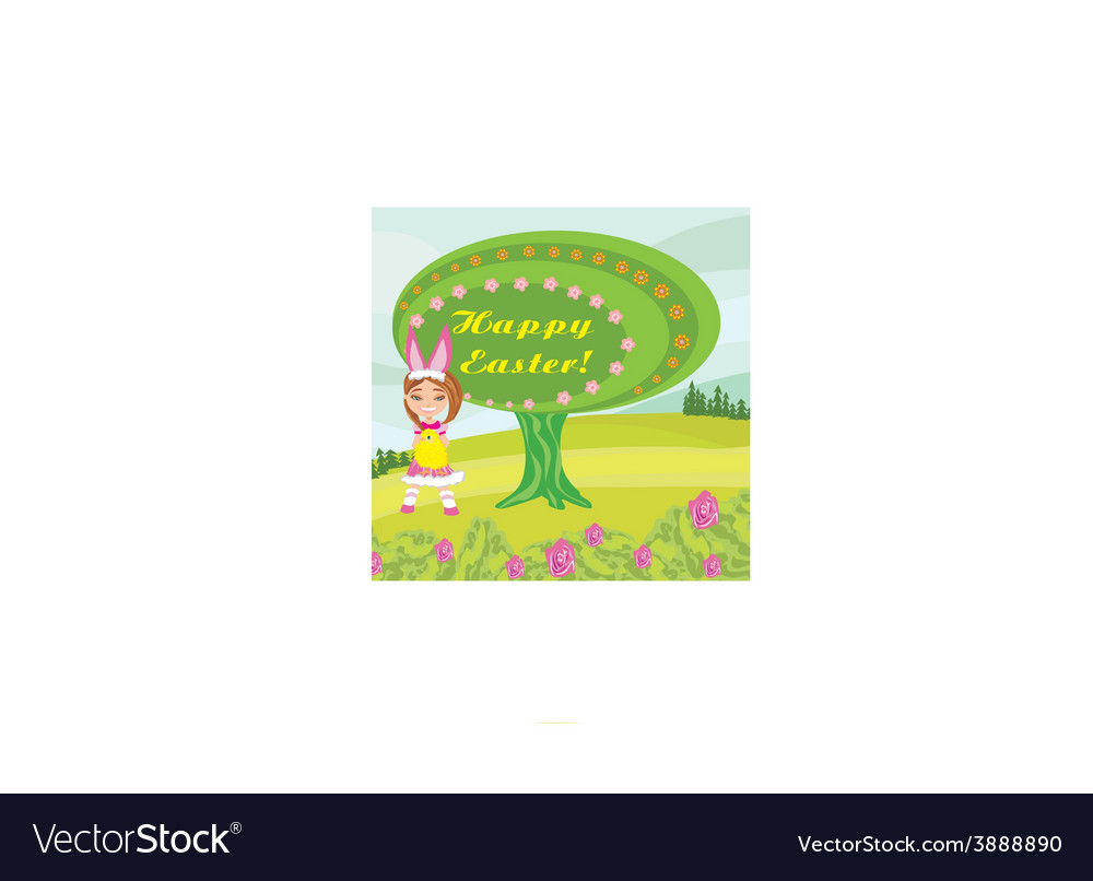 Girl in bunny costume- funny easter design vector | Price: 1 Credit (USD $1)