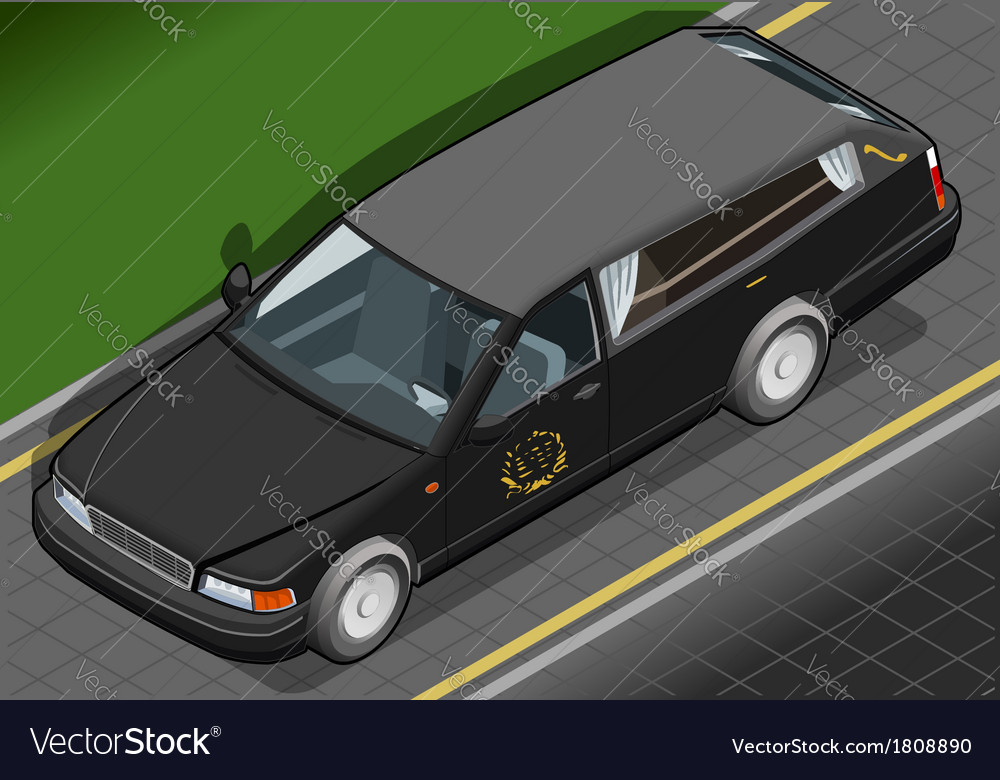 Isometric hearse in front view vector | Price: 1 Credit (USD $1)