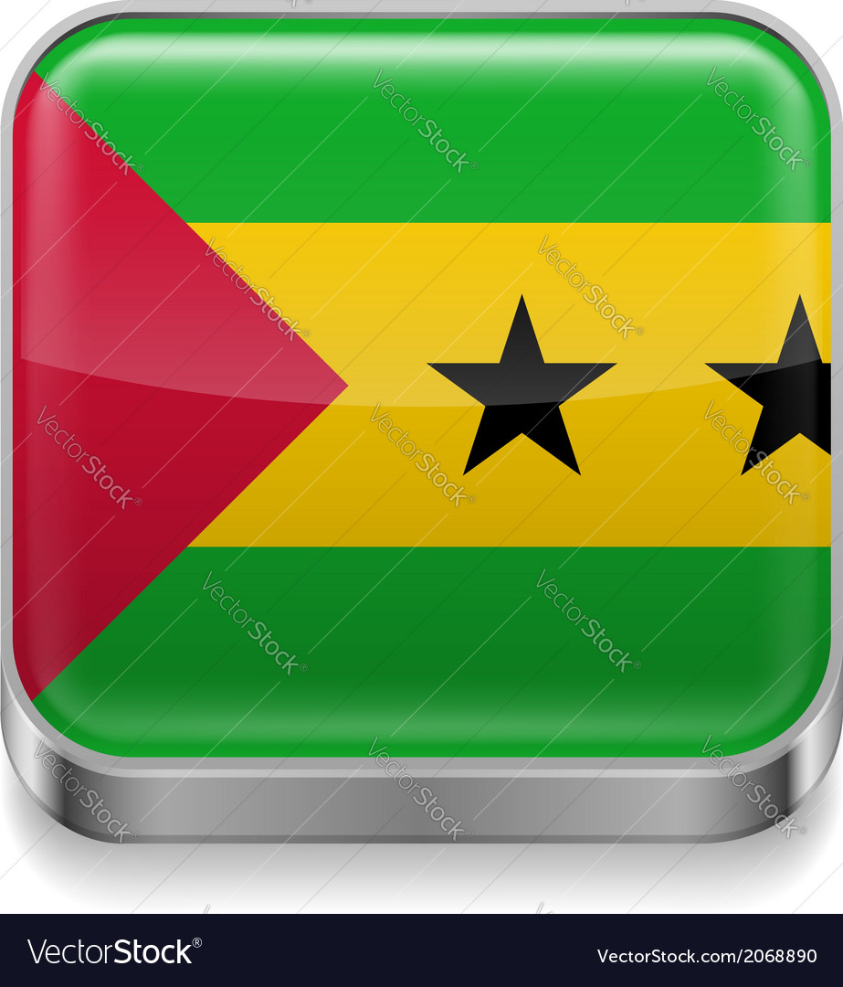 Metal icon of sao tome and principe vector | Price: 1 Credit (USD $1)
