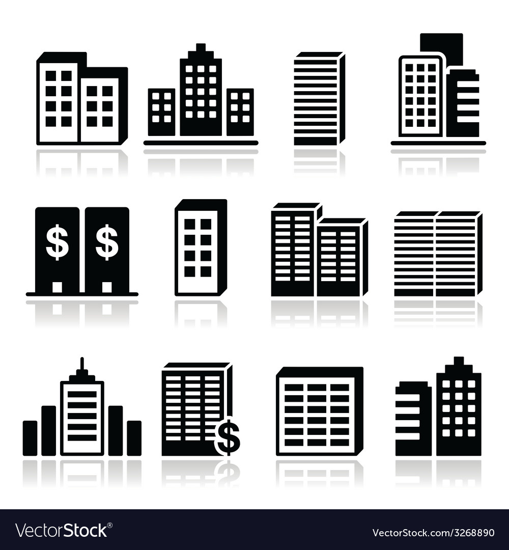 Office buildings business center icons set vector | Price: 1 Credit (USD $1)
