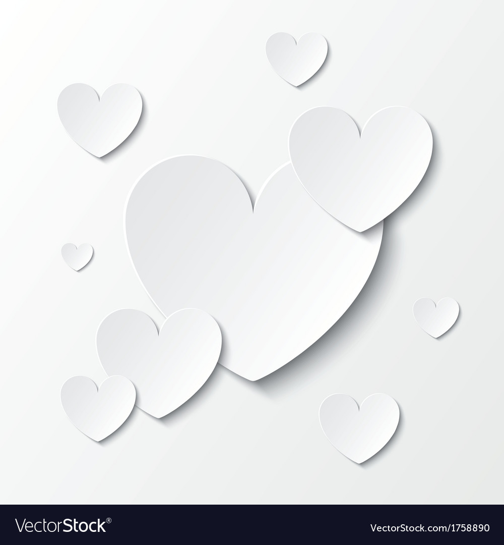 Paper hearts valentines day card on white vector | Price: 1 Credit (USD $1)