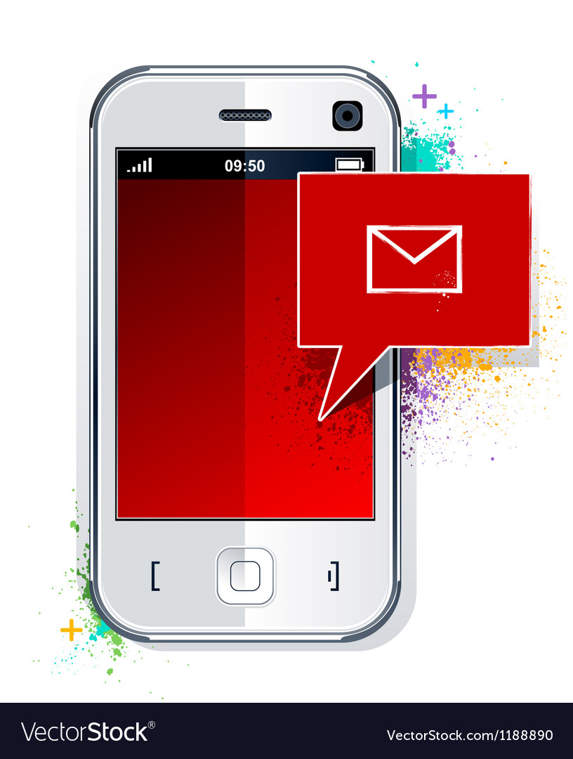 Phone with message symbol vector | Price: 3 Credit (USD $3)
