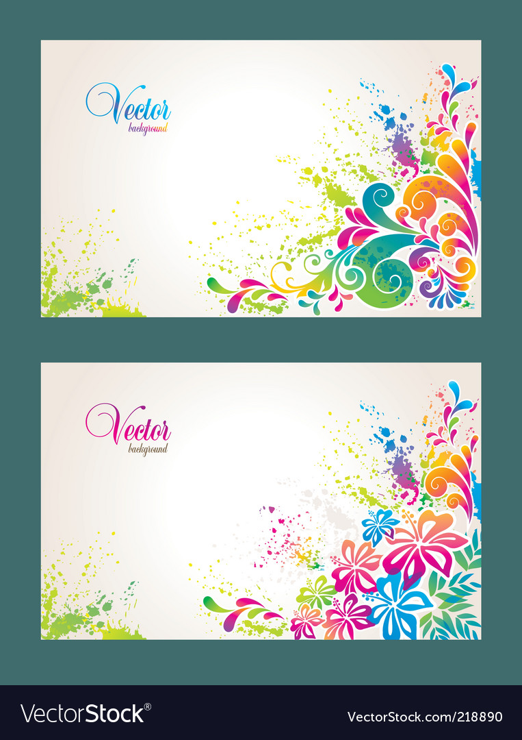 Set of colorful flower background vector | Price: 1 Credit (USD $1)