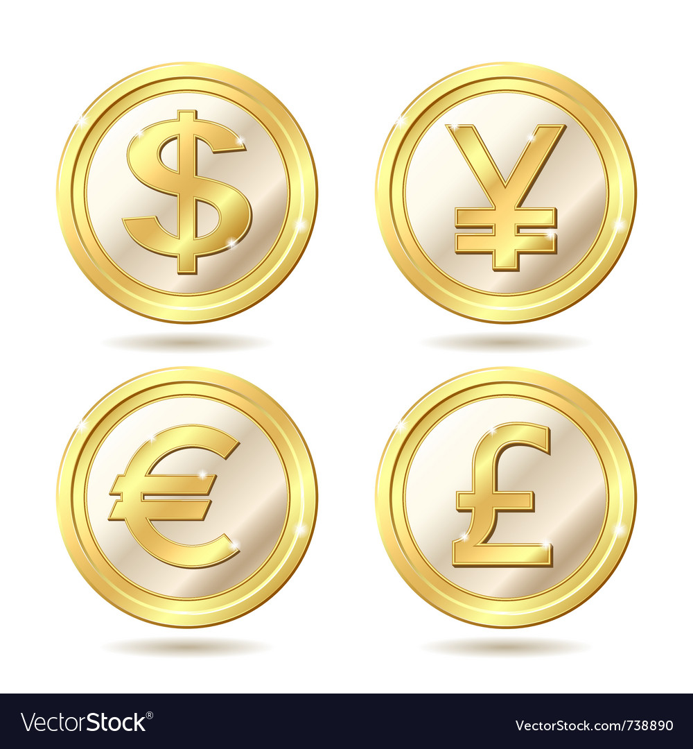Set of golden coin vector | Price: 1 Credit (USD $1)