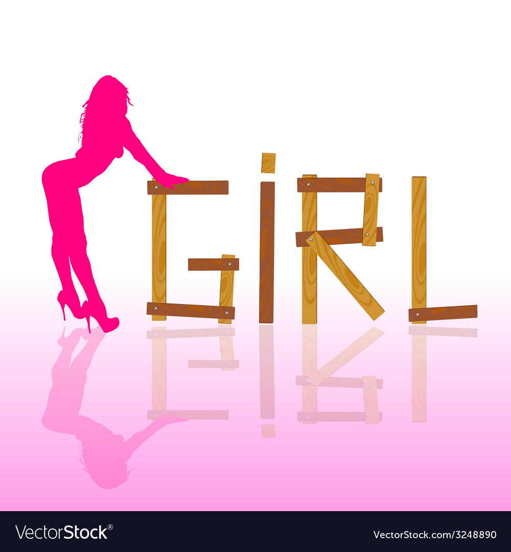 Sexy and hot girl in pink silhouette vector | Price: 1 Credit (USD $1)