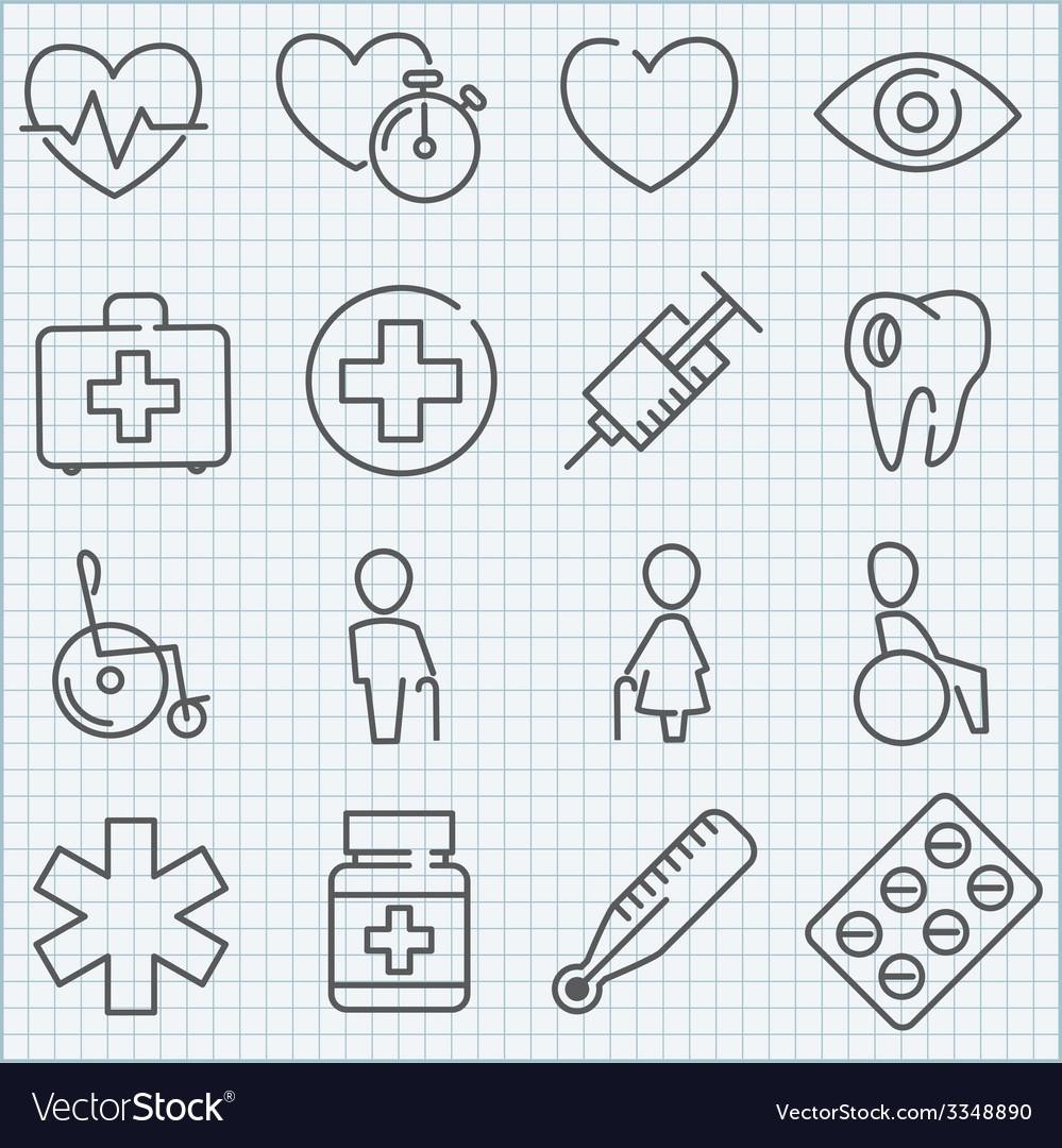 Thin line medicine icons set vector | Price: 1 Credit (USD $1)