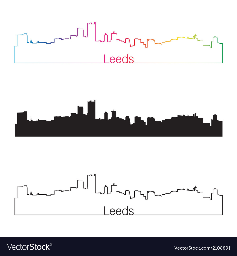 Leeds skyline linear style with rainbow vector | Price: 1 Credit (USD $1)