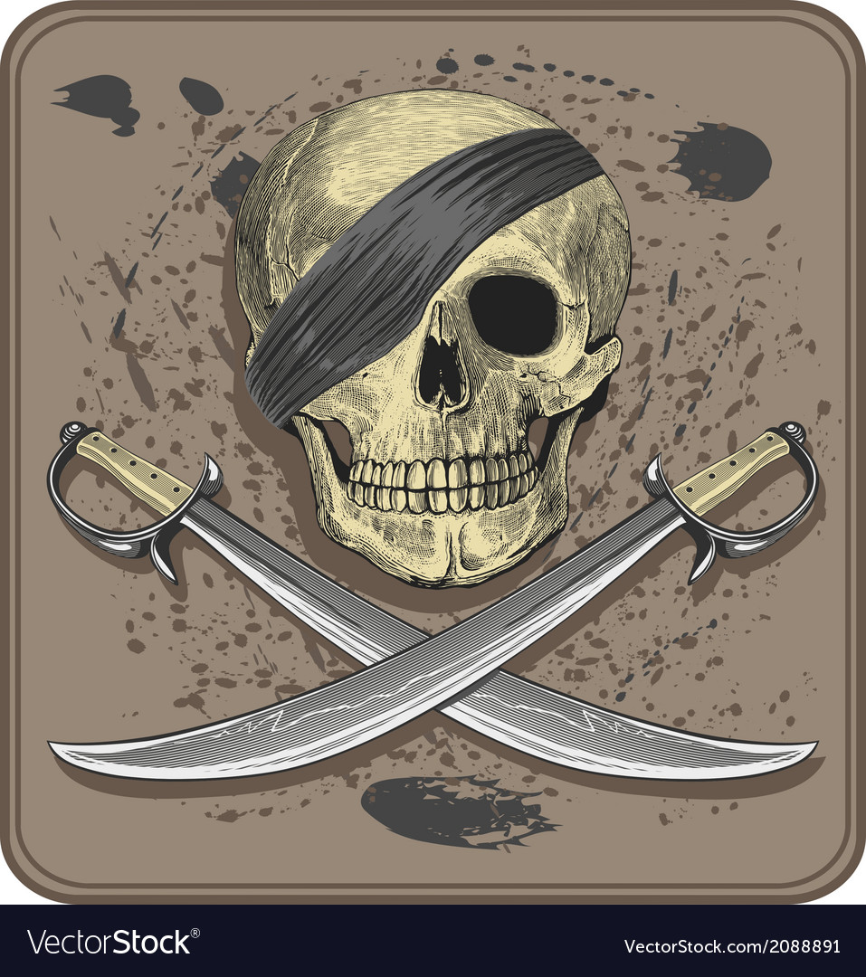 Pirate skull with swords vector | Price: 1 Credit (USD $1)