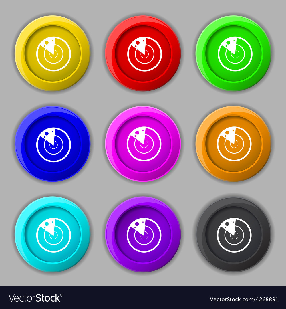 Radar icon sign symbol on nine round colourful vector | Price: 1 Credit (USD $1)