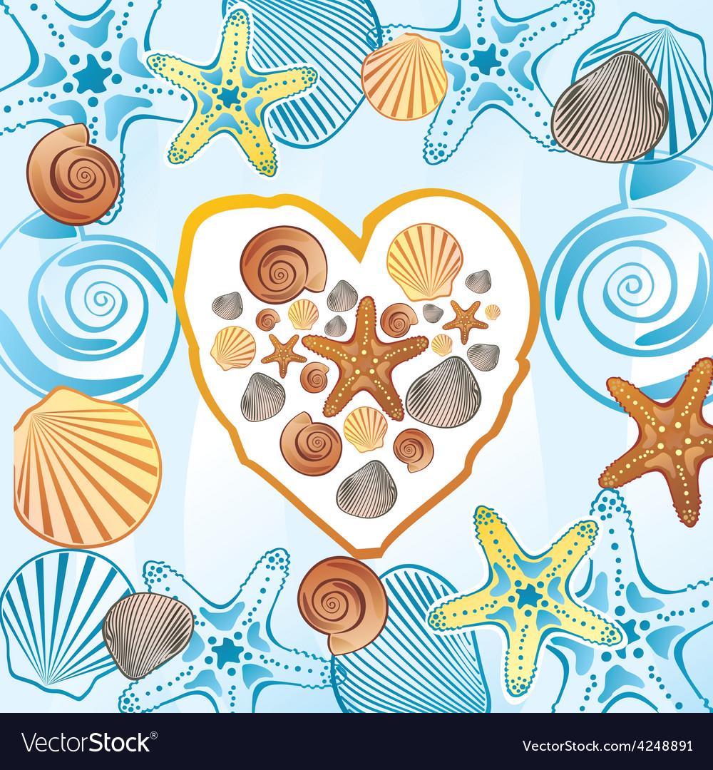 Sea love heart vector | Price: 1 Credit (USD $1)