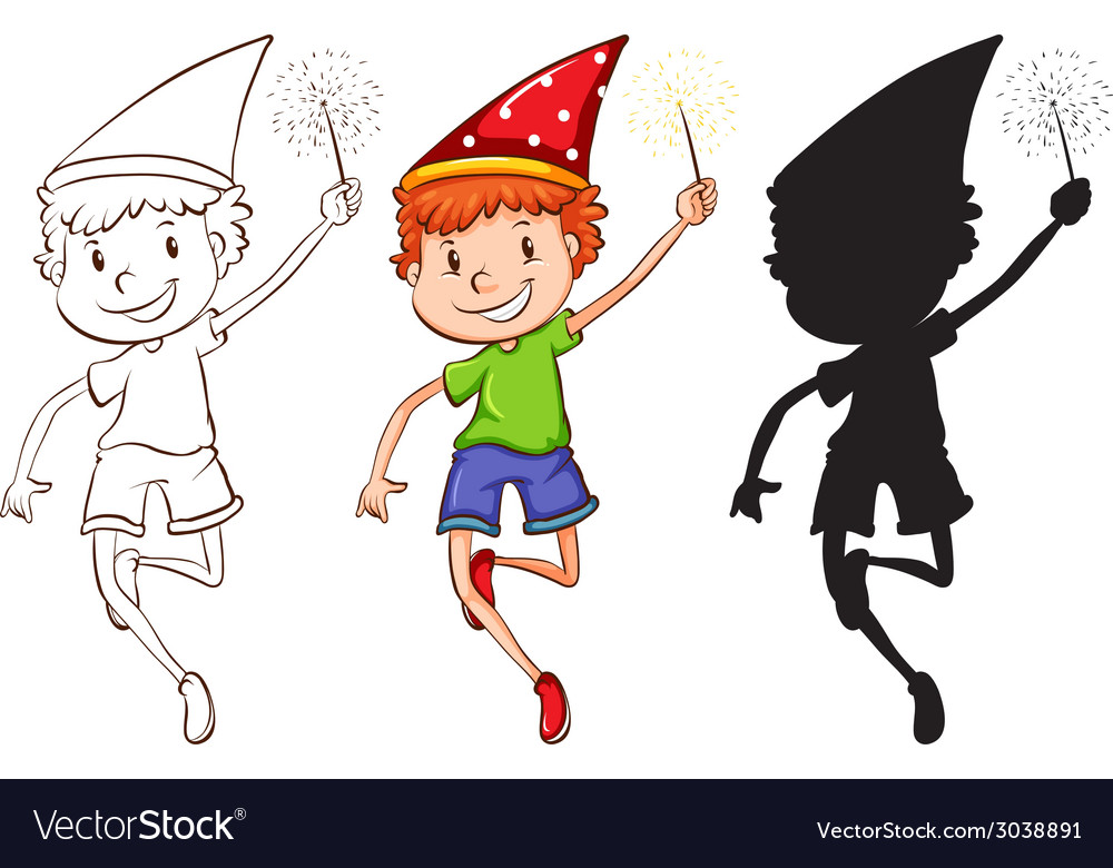 Sketches of a boy celebrating vector | Price: 1 Credit (USD $1)