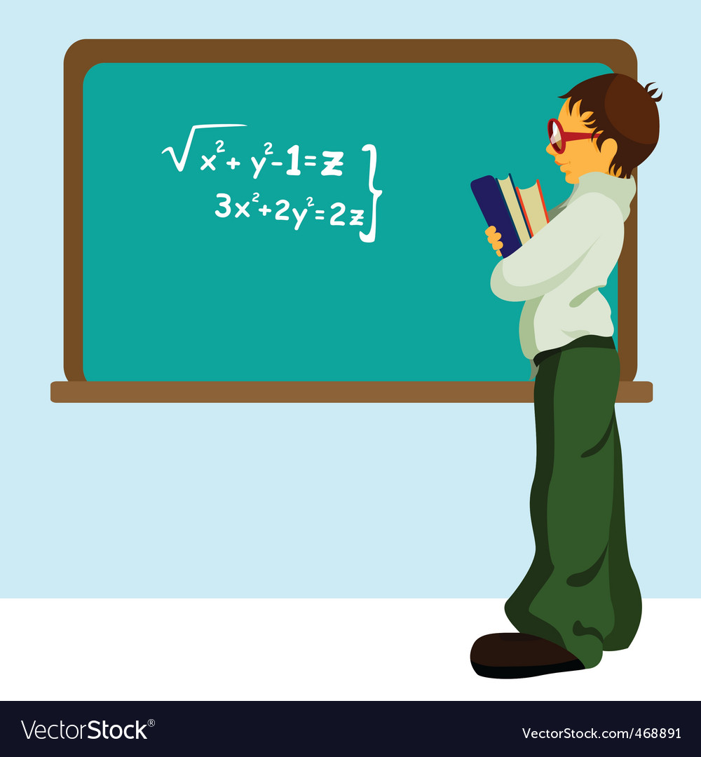 Student with chalkboard vector | Price: 3 Credit (USD $3)