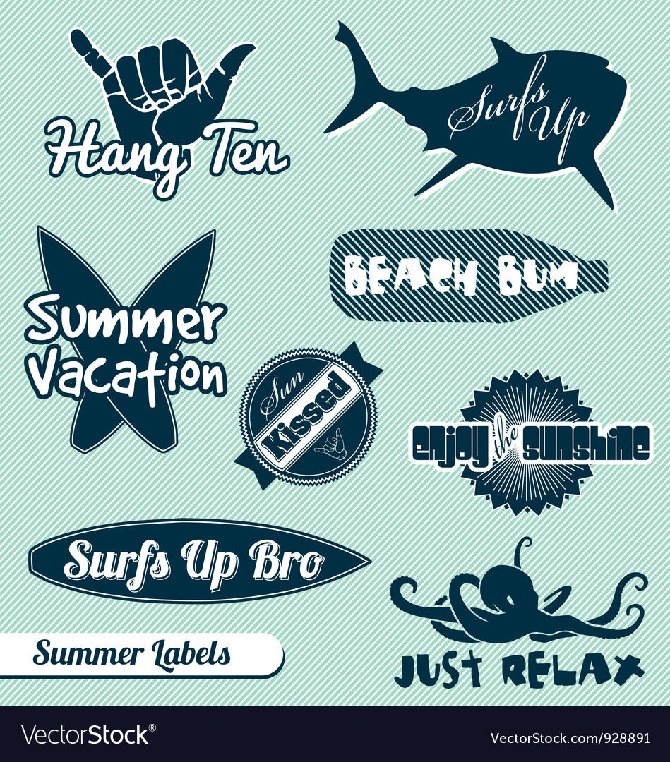 Surfing beach labels set vector | Price: 1 Credit (USD $1)