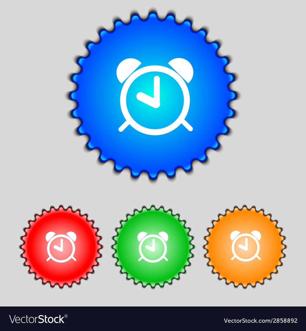 Alarm clock sign icon wake up alarm symbol set vector | Price: 1 Credit (USD $1)