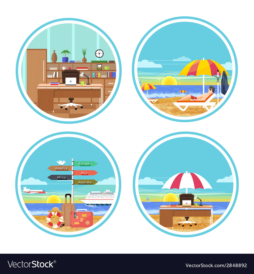 Business man dreaming about his holidays vector | Price: 1 Credit (USD $1)