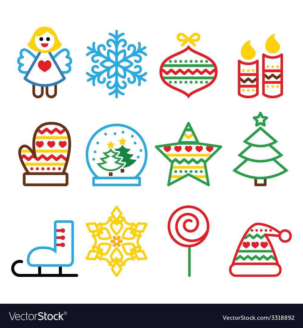 Christmas colored icons with stroke - xmas tree vector | Price: 1 Credit (USD $1)