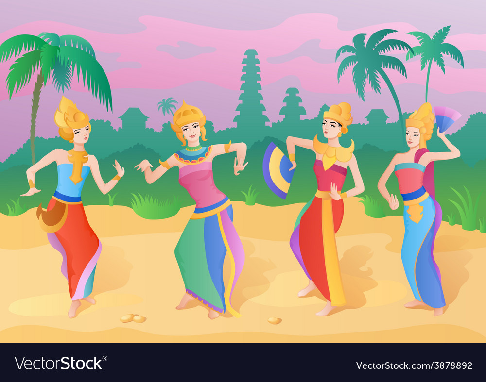 Ethnic dance indonesian girls vector | Price: 1 Credit (USD $1)