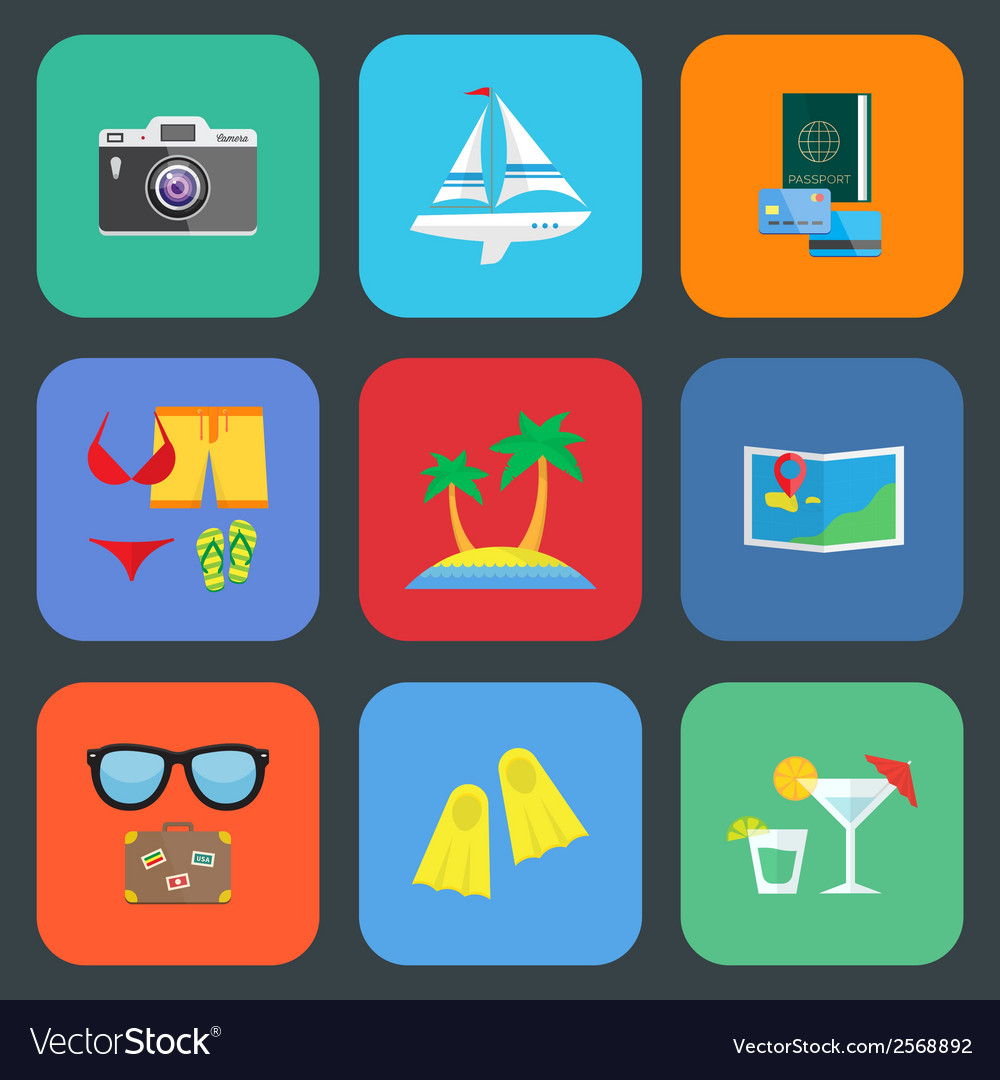 Flat travel or vacation icon set vector | Price: 1 Credit (USD $1)