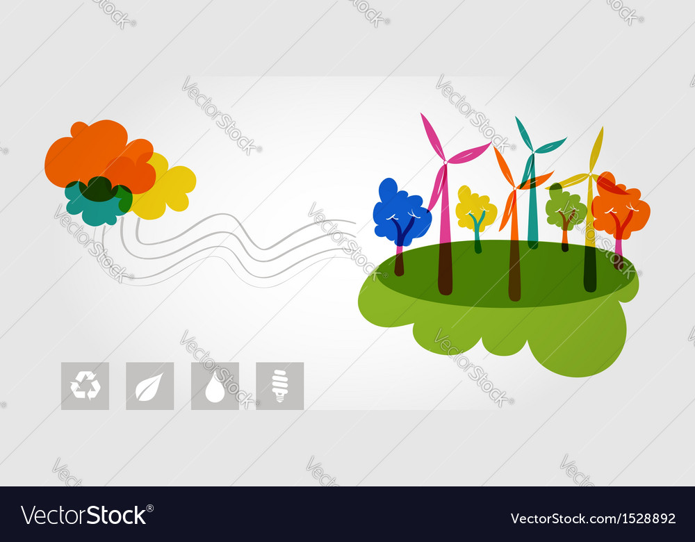Green world renewable resources colorful trees vector | Price: 1 Credit (USD $1)
