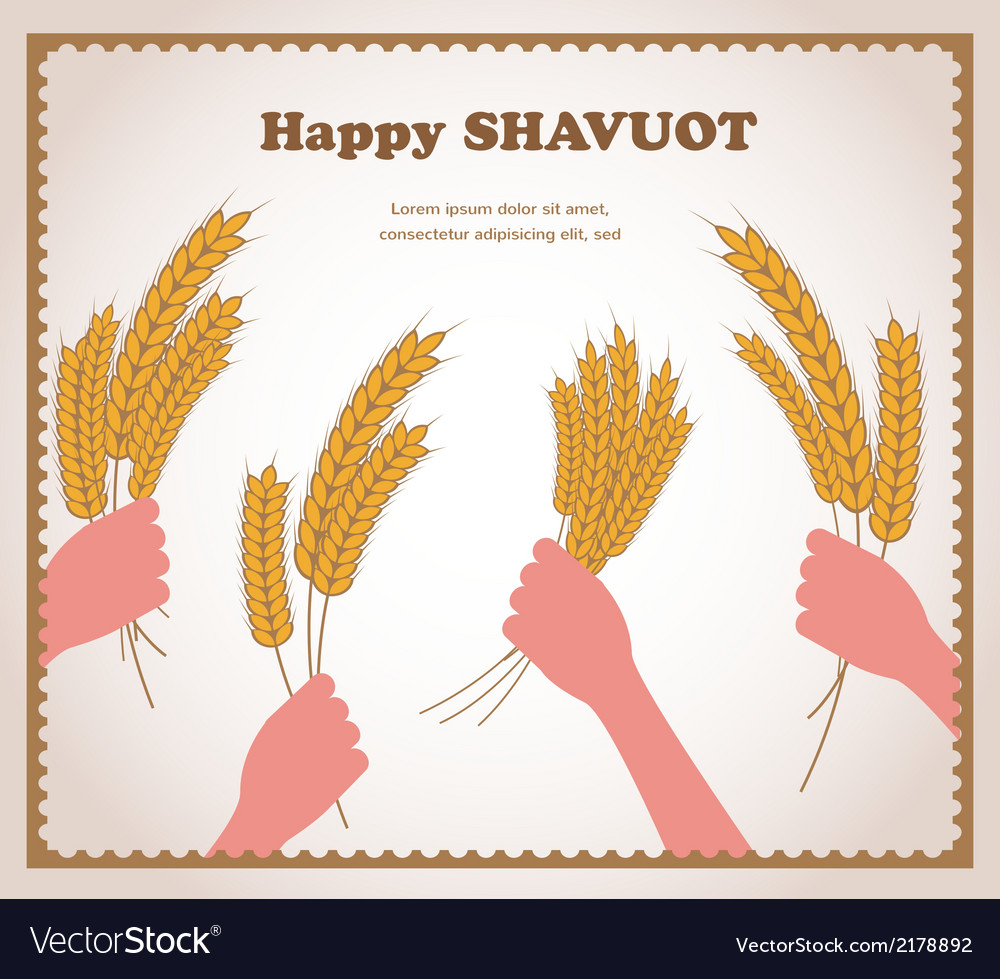 Happy shavuot jewish holiday card vector | Price: 1 Credit (USD $1)