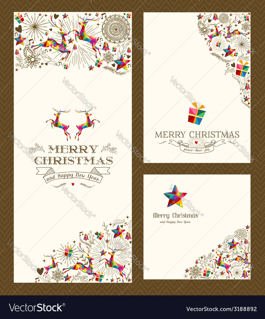 Merry christmas greeting card set vector | Price: 1 Credit (USD $1)