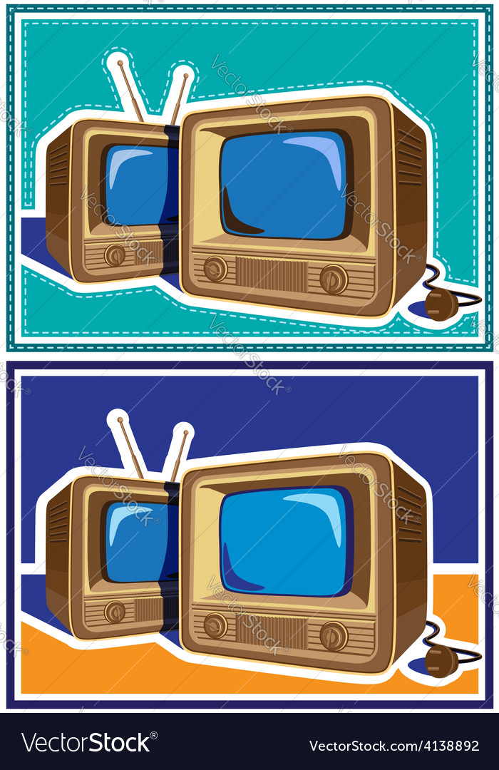 Old tv set vector | Price: 3 Credit (USD $3)