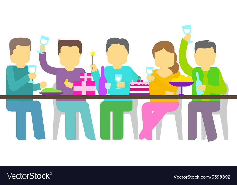 Party five people booze vector | Price: 1 Credit (USD $1)
