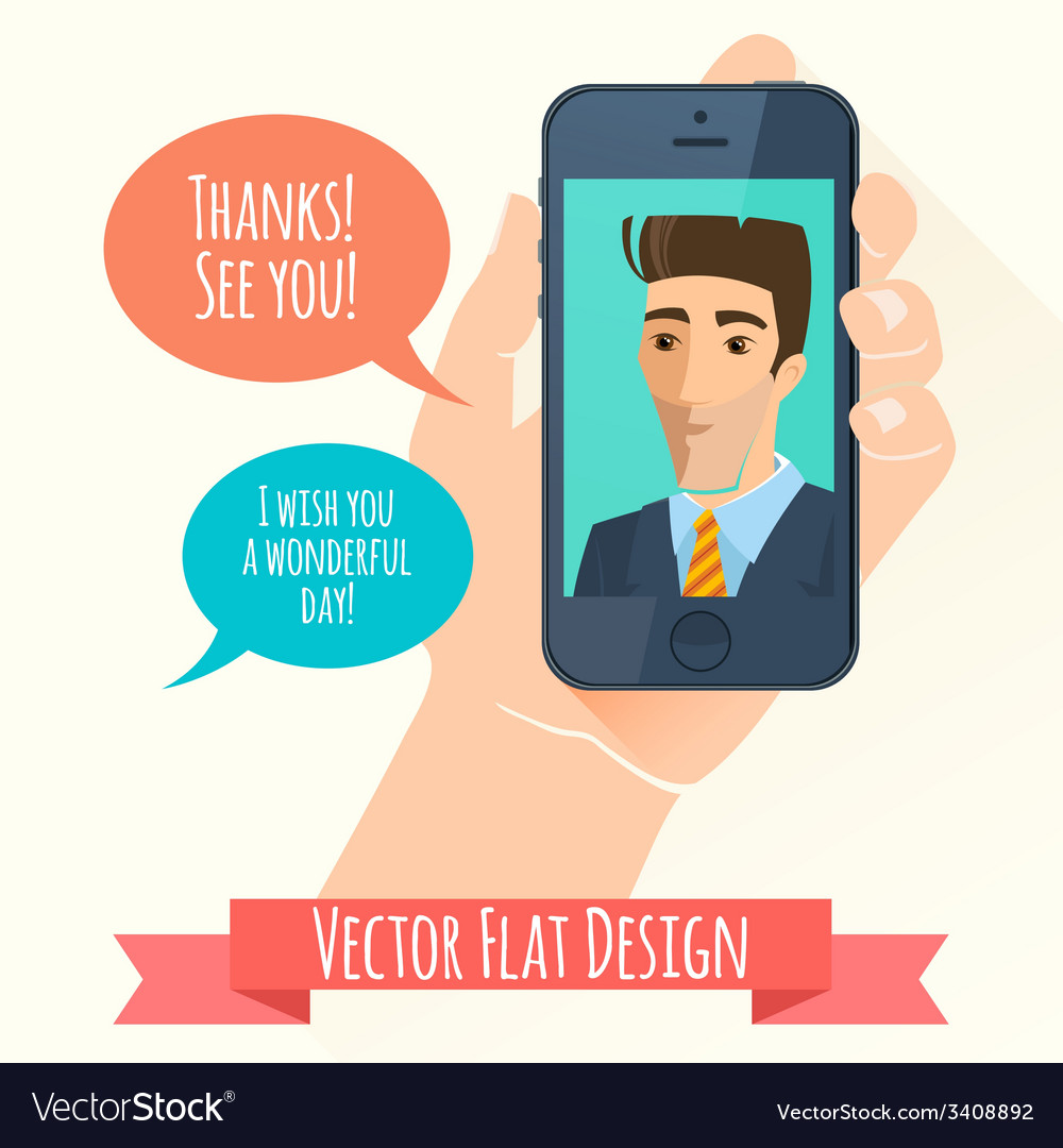 Phone conversation flat style vector | Price: 1 Credit (USD $1)
