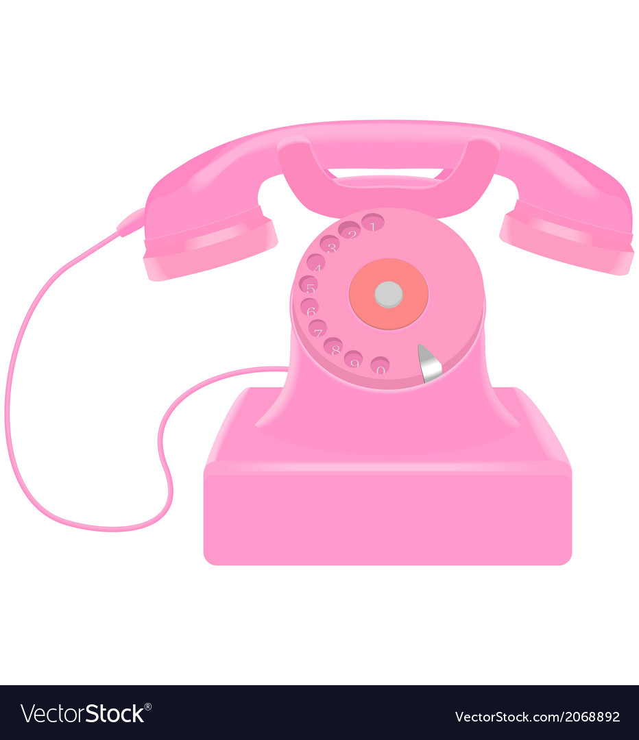 Pink retro telephone vector | Price: 1 Credit (USD $1)