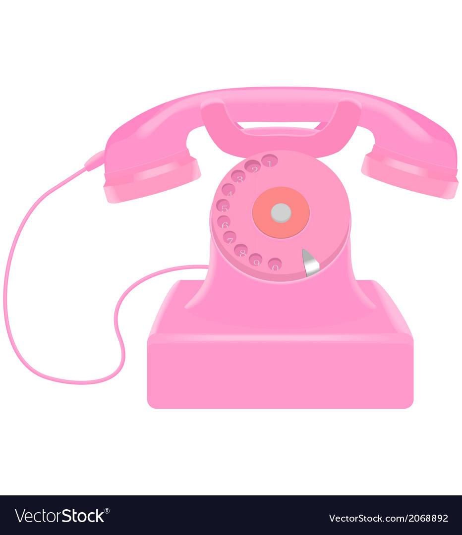 Pink retro telephone vector | Price: 1 Credit (USD $1)