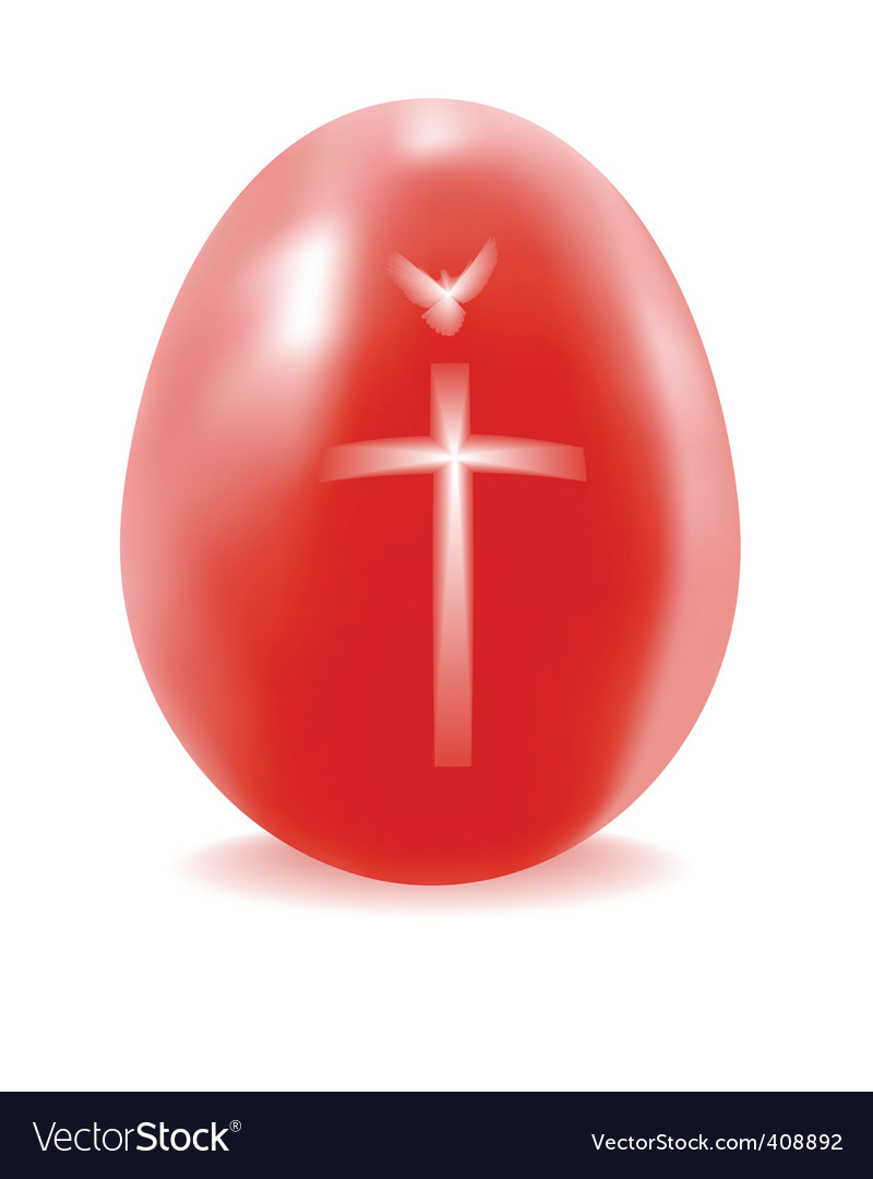 Red egg with a cross and dove vector | Price: 1 Credit (USD $1)