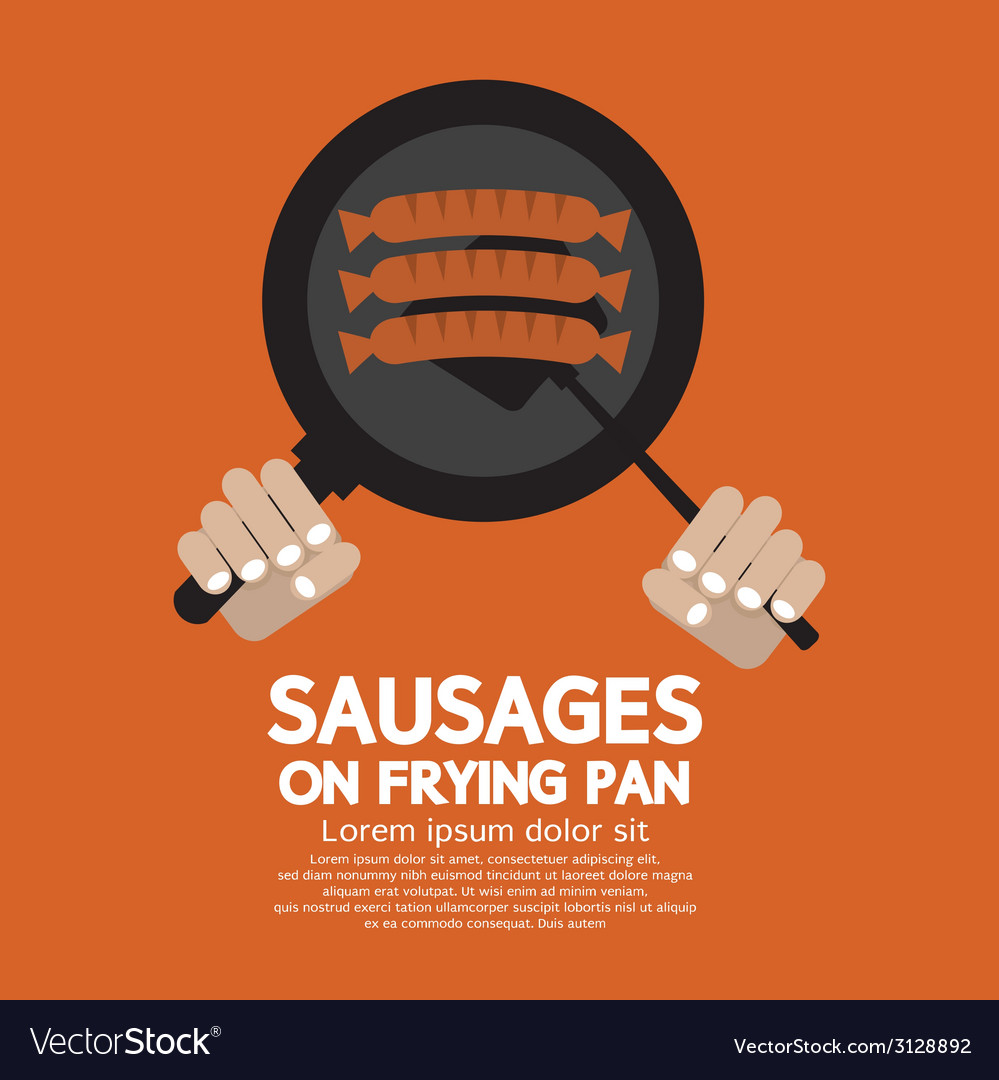 Sausages on frying pan vector | Price: 1 Credit (USD $1)