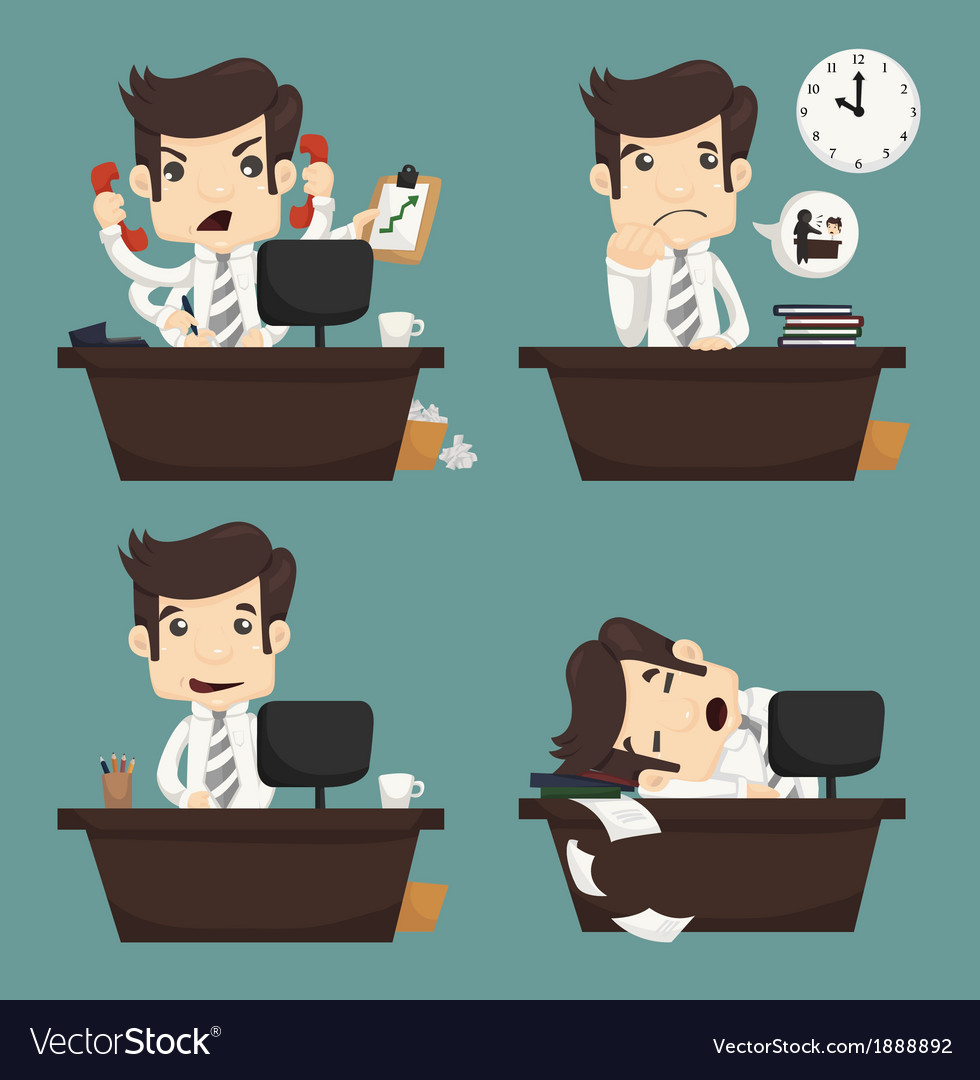 Set of businessman sitting on desk office worker vector | Price: 1 Credit (USD $1)