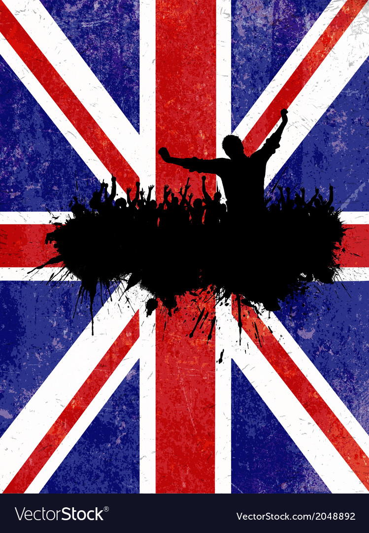 Silhouette of a party crowd on a grunge union jack vector | Price: 1 Credit (USD $1)