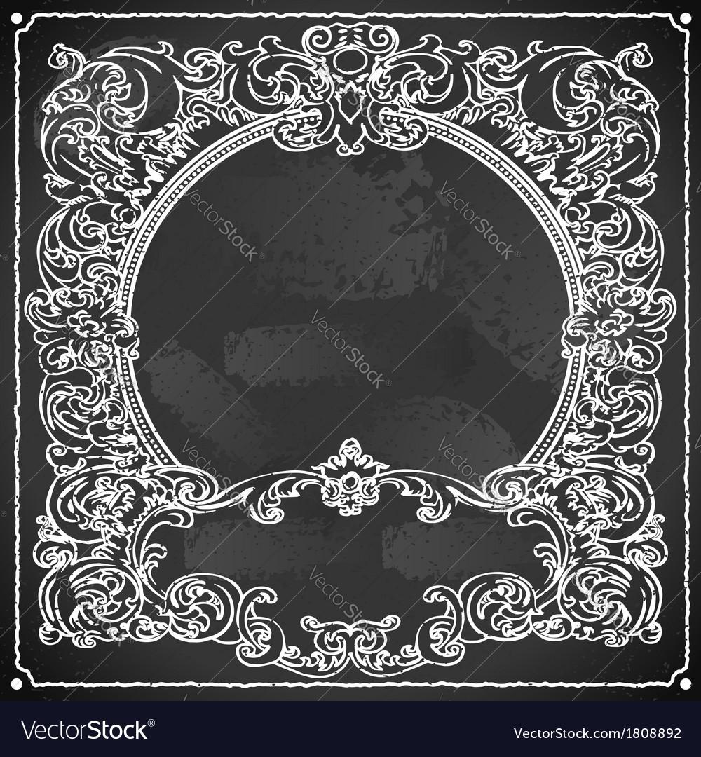 Vintage floral frame on blackboard vector | Price: 1 Credit (USD $1)